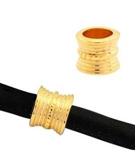 Cuentas étnicas tubo 10x8mm paso 6,2mm, baño de oro 22 kilates (unidad)