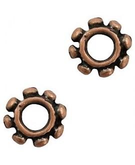 Cuenta rondel Bali cobre 14x4mm paso 6mm, zamak baño de cobre