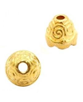 Capuchón 11x10mm, paso 2mm, zamak baño de oro