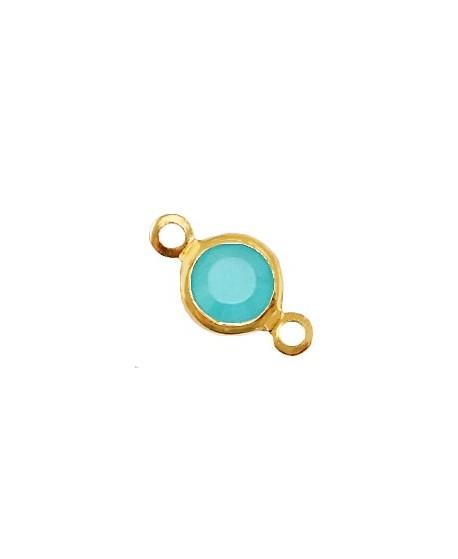 Entre-pieza con cristal Ópalo azul agua 13x7mm, paso 1,8mm, zamak baño de oro