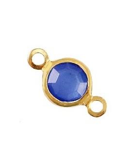 Entre-pieza con cristal Azul victoria 13x7mm, paso 1,8mm, zamak baño de oro