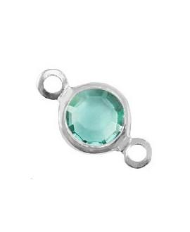 Entre-pieza con cristal Ópalo azul cantón 13x7mm, paso 1,8mm, zamak baño de plata