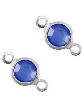 Entre-pieza con cristal Azul victoria 10x5mm, paso 1,6mm, zamak baño de plata