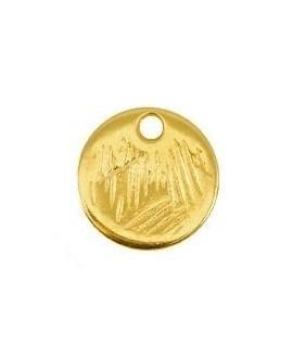 Colgante moneda 9mm, paso 1,2mm, baño de oro 22 kilates