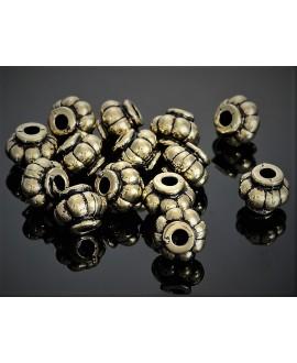 Cuenta resina dorado antiguo 11x9mm paso 3,5mm, precio por 10 unidades