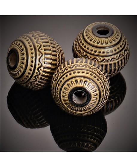 Cuenta resina negro/dorado estilo antiguo 18x19,5mm paso 4mm, unidad