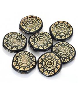 Cuenta resina negro/dorado estilo antiguo 18x6 mm paso 1,6mm, 5 unidades