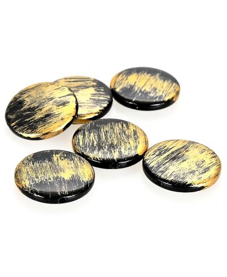 Cuenta resina negro/dorado estilo antiguo 25x5mm paso 1,5mm, unidad