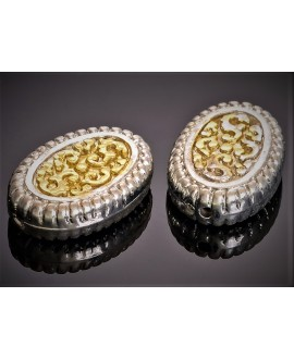 Cuenta resina chapado en oro/plata 26x18x7mm paso 1,6mm, unidad