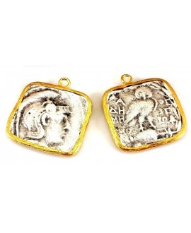 Colgante moneda 25x27mm paso 1,5mm, baño de oro 22 kilates y plata
