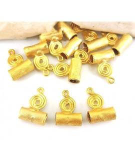 Entre-pieza 17x12mm, paso 3/4mm, baño de oro 22 kilates (unidad)