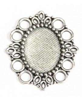 Base cabujón oval plano 25x18mm, metal, base 48x32mm
