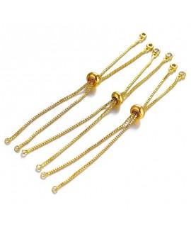 Pulsera semiacabado cadena de latón con baño de oro, cierre deslizante, ajustable
