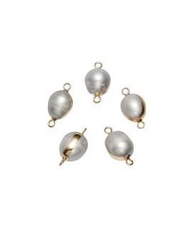 Entre-pieza Perlas de Biwa  13mm paso 1mm