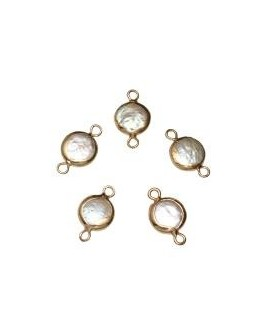Entre-pieza Perlas de Biwa  15mm paso 1mm