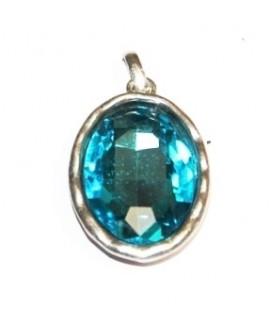 Colgante ovalado 35x25mm, metal plata mate/cristal aquamarine