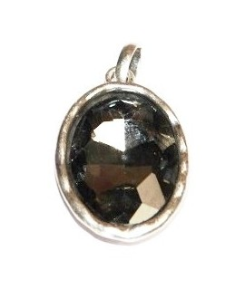 Colgante ovalado 35x25mm, metal plata mate/cristal black diamond