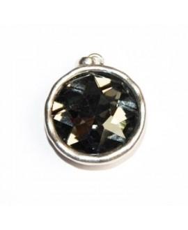 Colgante redondo 30mm, metal plata mate/cristal black diamond