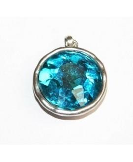 Colgante redondo 30mm, metal plata mate/cristal aquamarine