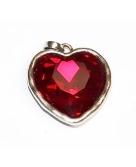 Colgante corazón 30mm, metal plata mate/cristal siam