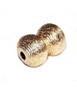 Cuenta forma de ocho 25x18mm paso 3mm, baño de oro 22 kilates (unidad)