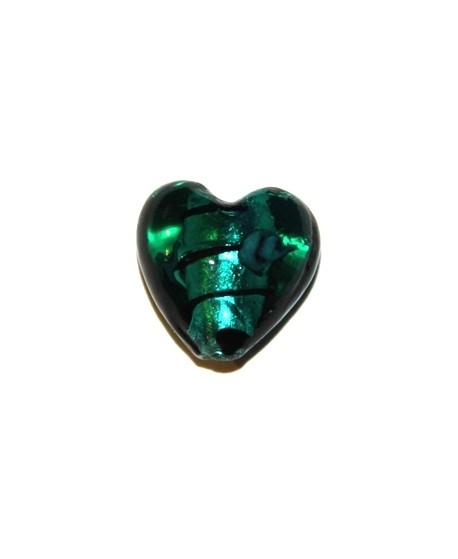Corazón silver azul foiled flor 20x14mm, paso 2mm