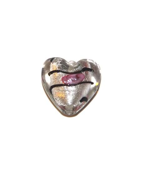 Corazón silver foiled flor 20x14mm, paso 2mm