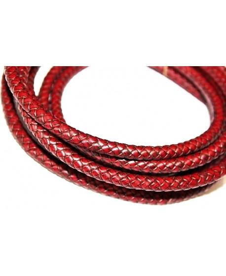 Cordón de cuero  8mm trenzado redondo, burdeos, calidad superior, precio por metro