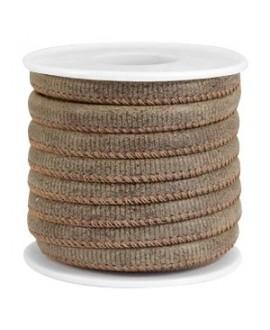 Cordón de cuero marrón Falcon PU (imitación) con costura 6x4mm, precio por metro
