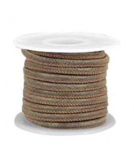 Cordón de cuero marrón Falcon PU (imitación) con costura 4x3mm, precio por metro