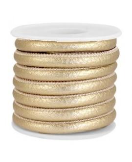 Cordón de cuero oro viejo metálico PU (imitación) con costura 6x4mm, precio por metro