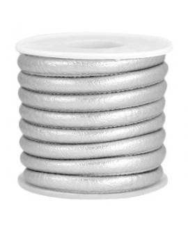 Cordón de cuero plata metálico PU (imitación) con costura 6x4mm, precio por metro