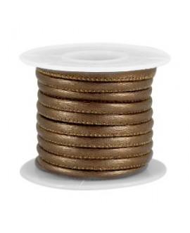 Cordón de cuero bronce oscuro metálico PU (imitación) con costura 4x3mm, precio por metro