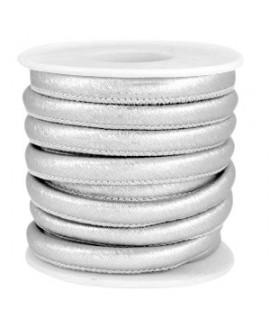 Cordón de cuero Animal print plata metálico PU (imitación) con costura 6x4mm, precio por metro