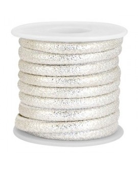 Cordón de cuero lagarto plata metálico PU (imitación) con costura 6x4mm, precio por metro