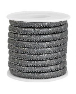Cordón de cuero gris antracita metálico PU (imitación) con costura 6x4mm, precio por metro