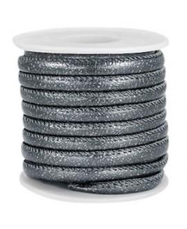 Cordón de cuero gris azulado oscuro metálico PU (imitación) con costura 6x4mm, precio por metro