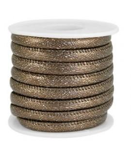 Cordón de cuero SPARKLE marrón bronce oscuro metálico PU (imitación) con costura 6x4mm, precio por metro