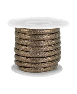 Cordón de cuero SPARKLE marrón bronce oscuro metálico PU (imitación) con costura 4x3mm, precio por metro