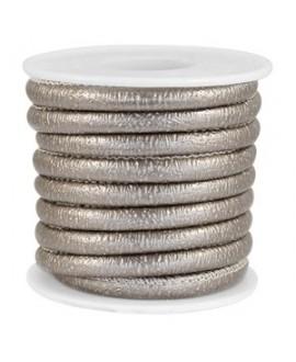 Cordón de cuero SPARKLE gris champagne metálico PU (imitación) con costura 6x4mm, precio por metro