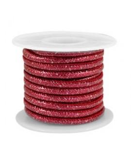 Cordón de cuero SPARKLE rojo Cabernet metálico PU (imitación) con costura 4x3mm, precio por metro