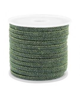 Cordón con costura Trendy denim 4x3mm verde oscuro, venta por metro