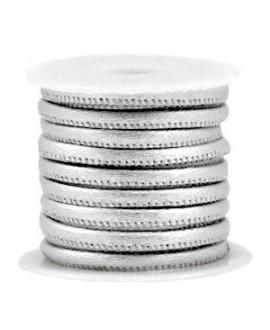 Cordón de cuero plata metálico PU (imitación) con costura 4x3mm, precio por metro