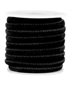 Cordón de terciopelo negro con costura 6x4mm, precio por metro