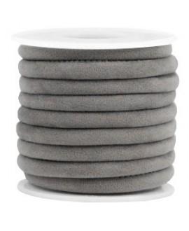 Cordón de terciopelo gris con costura 6x4mm, precio por metro