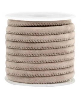 Cordón de terciopelo taupe con costura 6x4mm, precio por metro