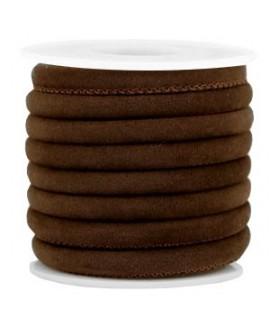 Cordón de terciopelo chocolate con costura 6x4mm, precio por metro