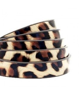 Cordón de cuero plano 10mm PU (imitación) estampado leopardo beige, precio por metro