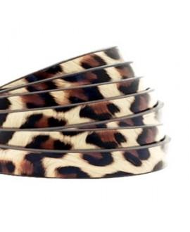 Cordón de cuero plano 5mm PU (imitación) estampado leopardo beige, precio por metro