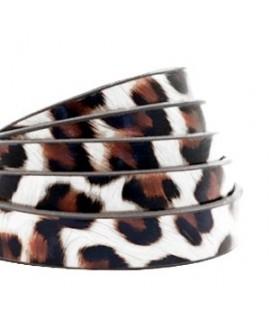Cordón de cuero plano 10mm PU (imitación) estampado leopardo blanco-marrón , precio por metro